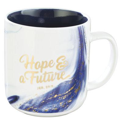 Mok blauw goud Hope and Future
