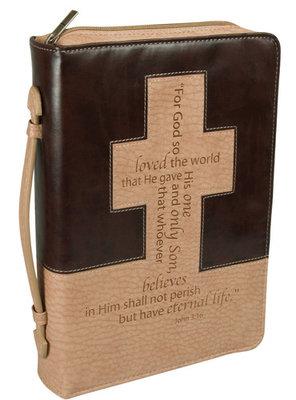 Bijbelhoes Medium Brown/Tan John 3:16