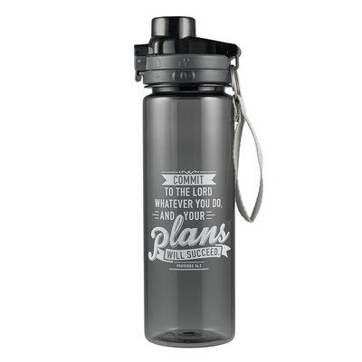 Plastic waterfles - Commit your plans - Black