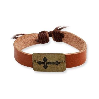 Armband Bruin Leer Kruis