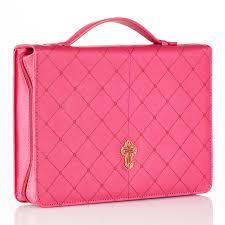 Bijbelhoes Medium Cross Pink Diamond Pattern