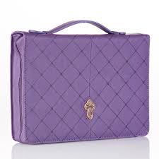 Bijbelhoes Medium Cross Purple Diamond Pattern