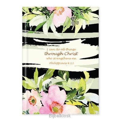 Hardcover journal flowers 'I can do all things'