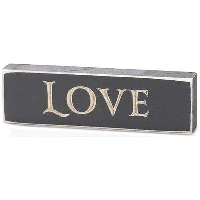 Houten tabletop met tekst 'Love'
