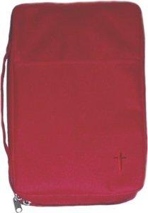 Bijbelhoes medium rood cross canvas