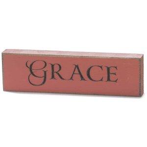 Houten tabletop met de tekst 'Grace'
